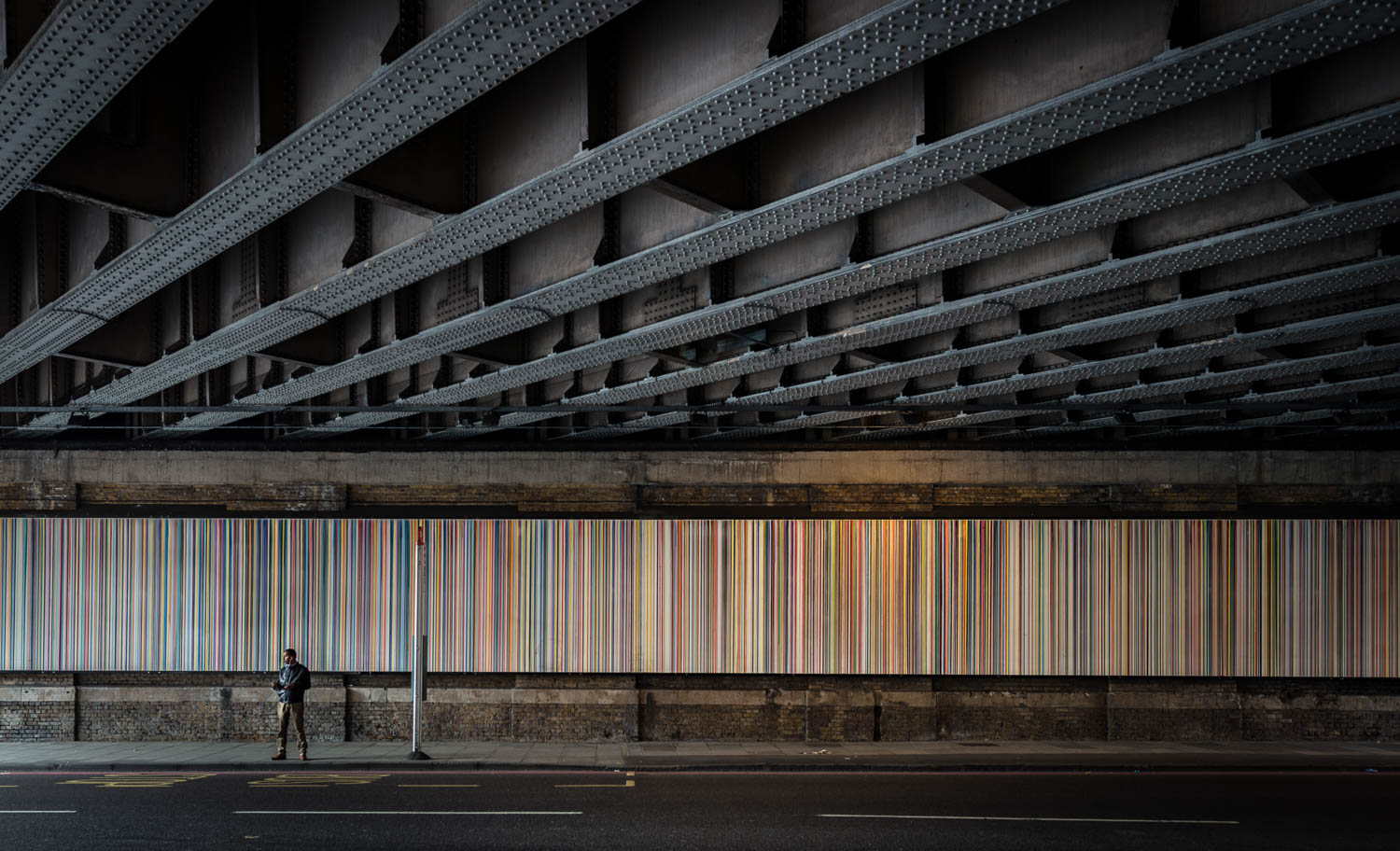Blackfriars Road, London, lines, lines, lines, colour and monochrome
