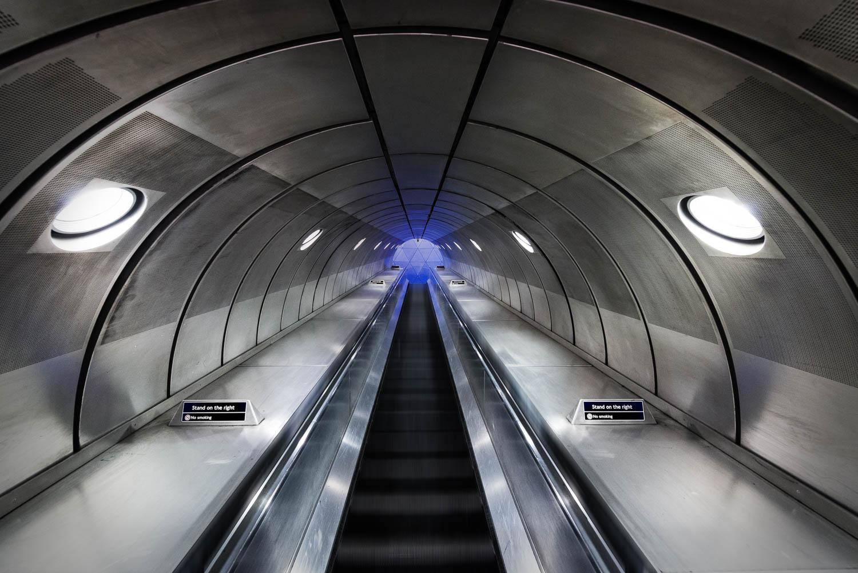 Southwark Underground Station, London, escalator