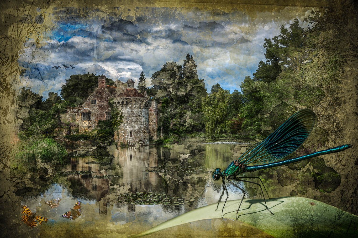 I scarcely call these things our own - Scotney Castle in Kent and a Banded Demoiselle Damselfly