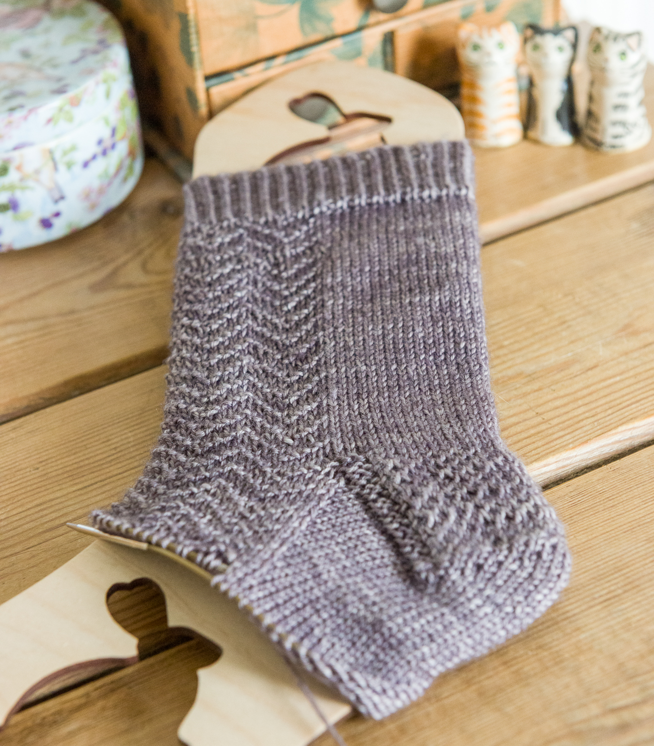 A Hand knitted sock