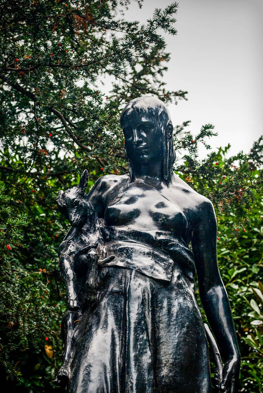 Shepherdess - a statue in St John's Lodge Gardens, Regents Park, London