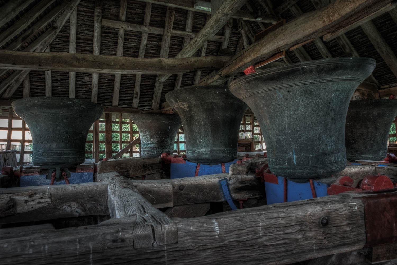 Inside the East Bergholt Bell Cage