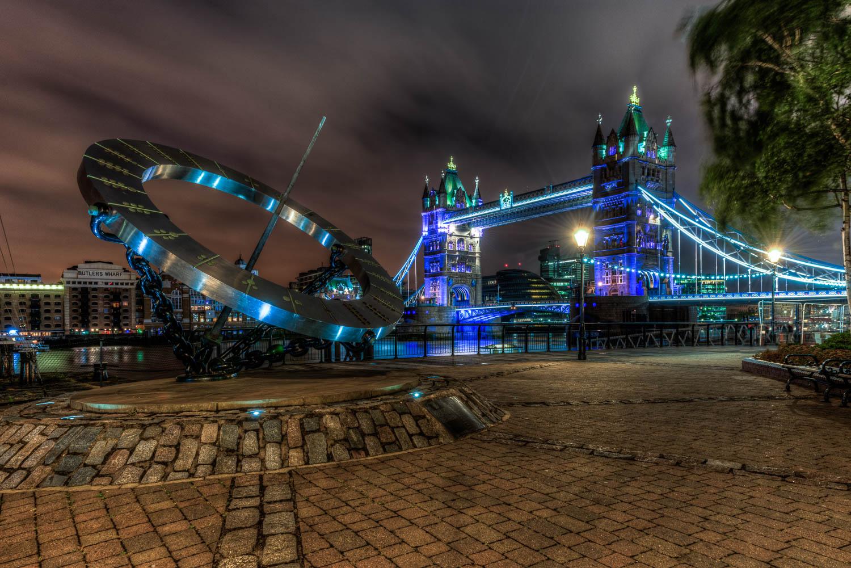 Equinoctial Sundial & Tower Bridge at St Katherines Dock London