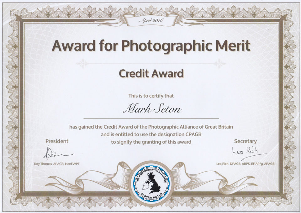 Credit Award of the Photographic Alliance of Great Britain (CPAGB)